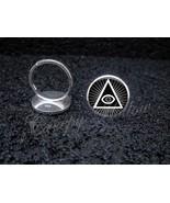 925 Sterling Silver Adjustable Ring Illuminati All Seeing Eye Pyramid - $34.65