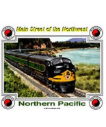RAILROAD TIN SIGN / NORTHERN PACIFIC / diesel trains - $20.99