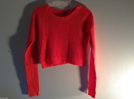 Charlotte Russe Women's Size S Sweater Cropped High Waist Hot Pink Waffle Knit