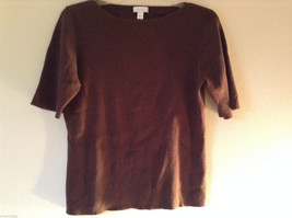 Charter Club Women's Size L Silk Blend Sweater Brown Ribbed Short Sleeves