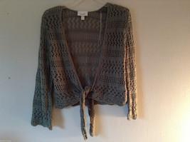 Dressbarn Women's Size M Green Tie-Front Open-Knit Cardigan Shrug Light Sweater