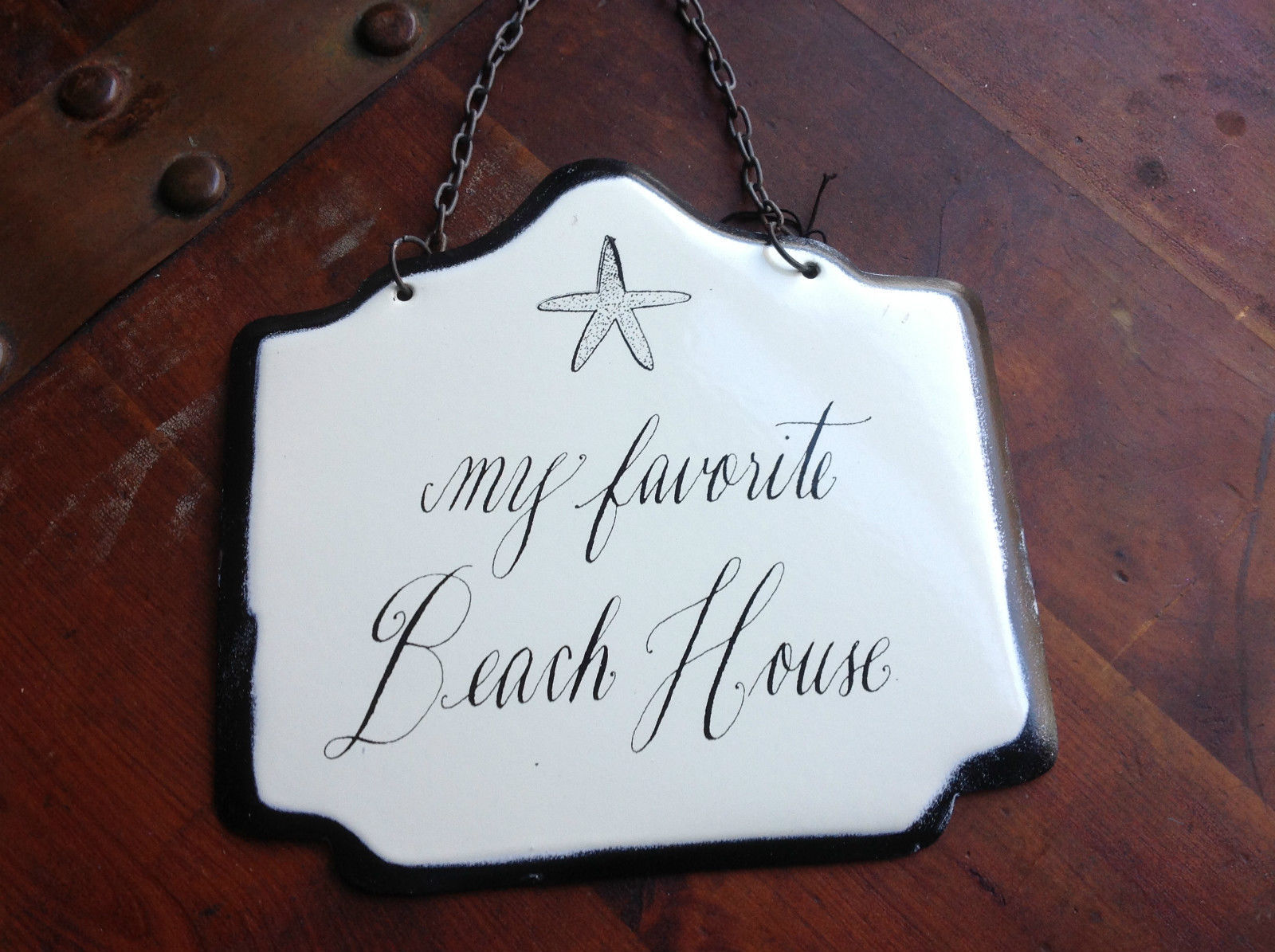 Enameled Metal Sign My Favorite Beach House Black Chain Ready to Hang