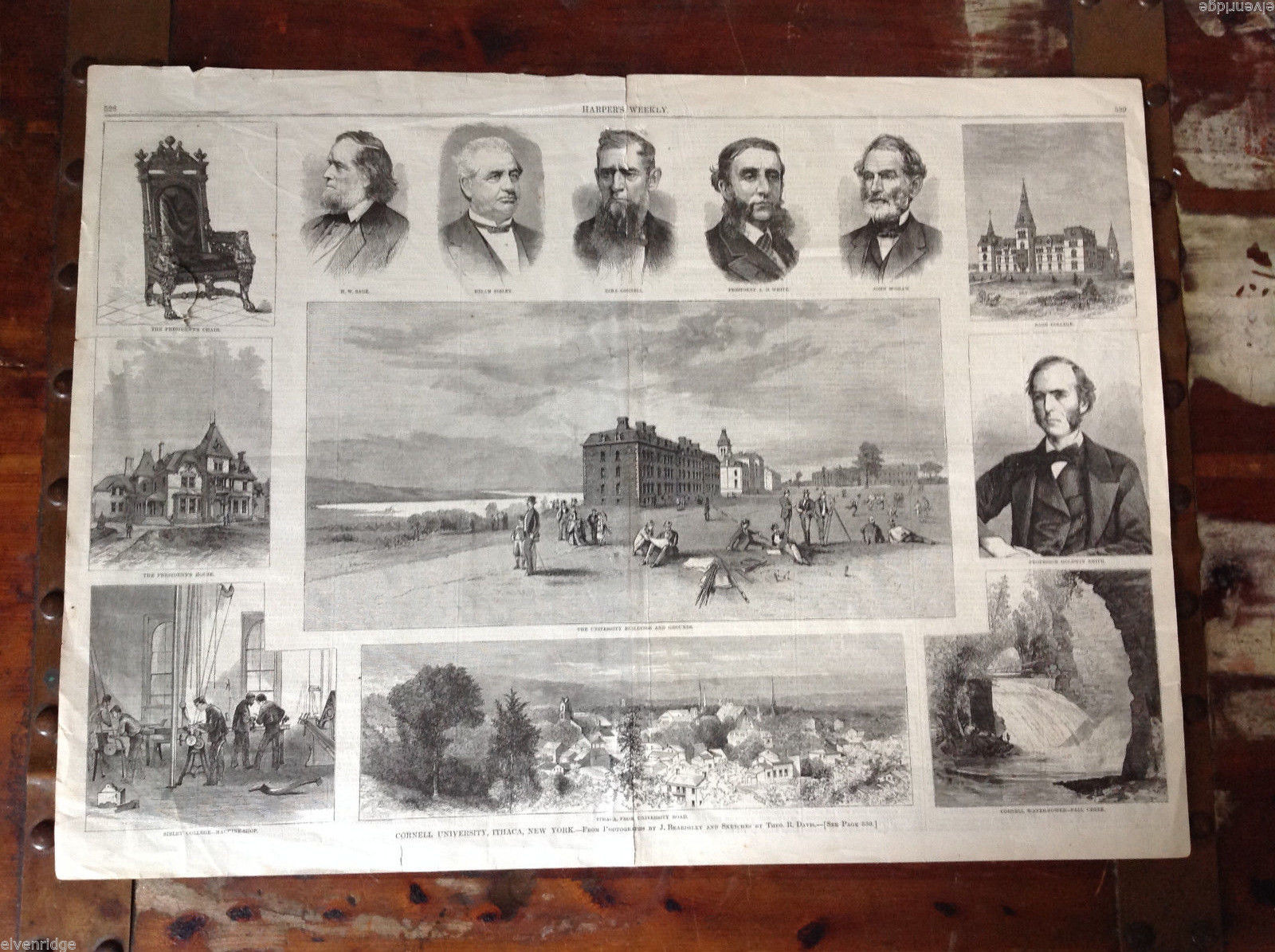 Harper's Weekly June 21, 1873 Newspaper Cornell  Pictoral Spread Pages 528-529