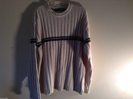 George Men's Size L Sweater Crew Neck Cream Colored w/ Black & Dark Green Stripe