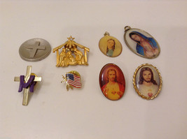 Lot of 8 Christian Teamed Costume Pins and Pendants, Jesus, St.Mary, Crosses