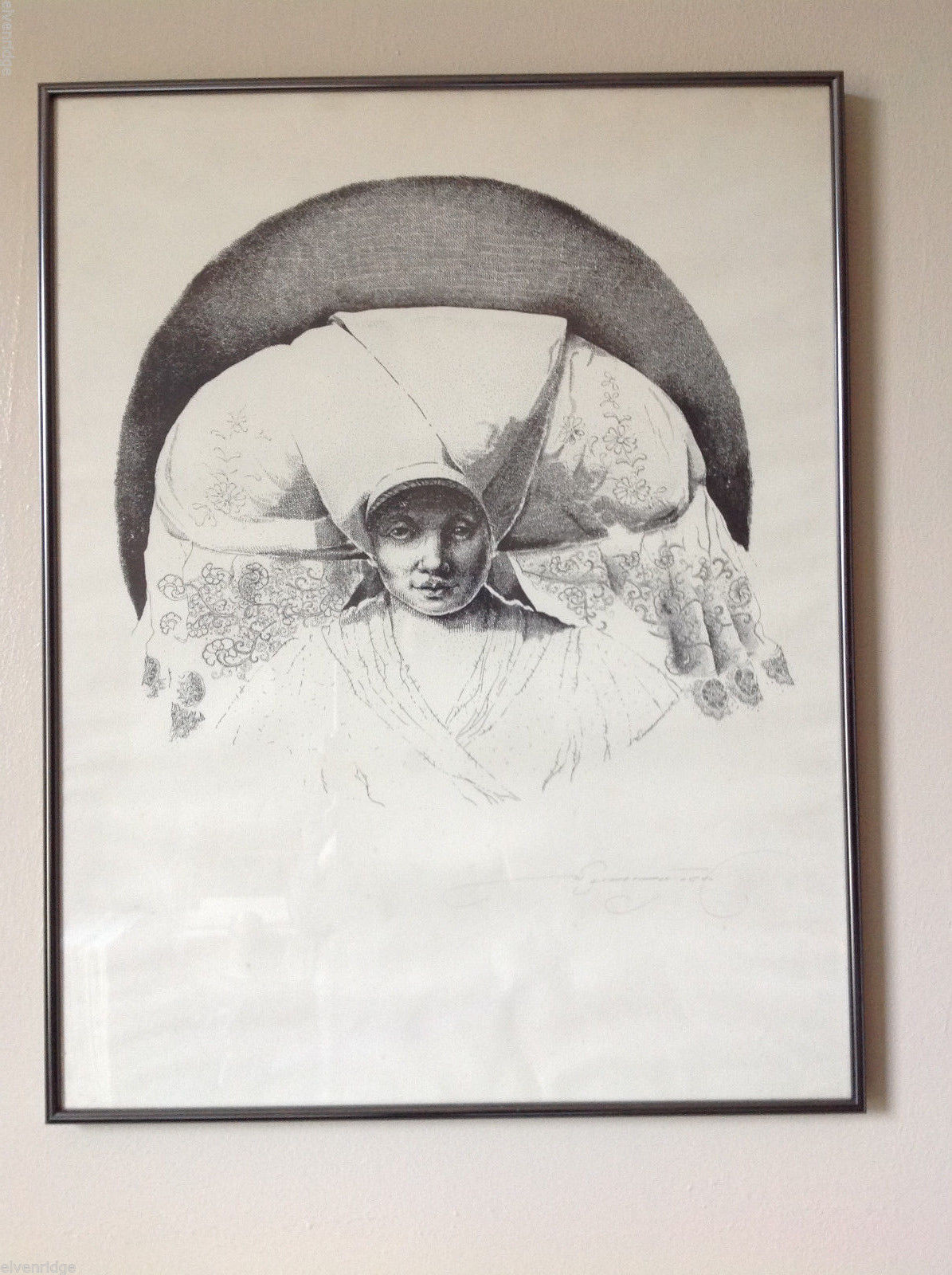 Monochrome Portrait of Woman in Headdress Signed by Original Artist Black White