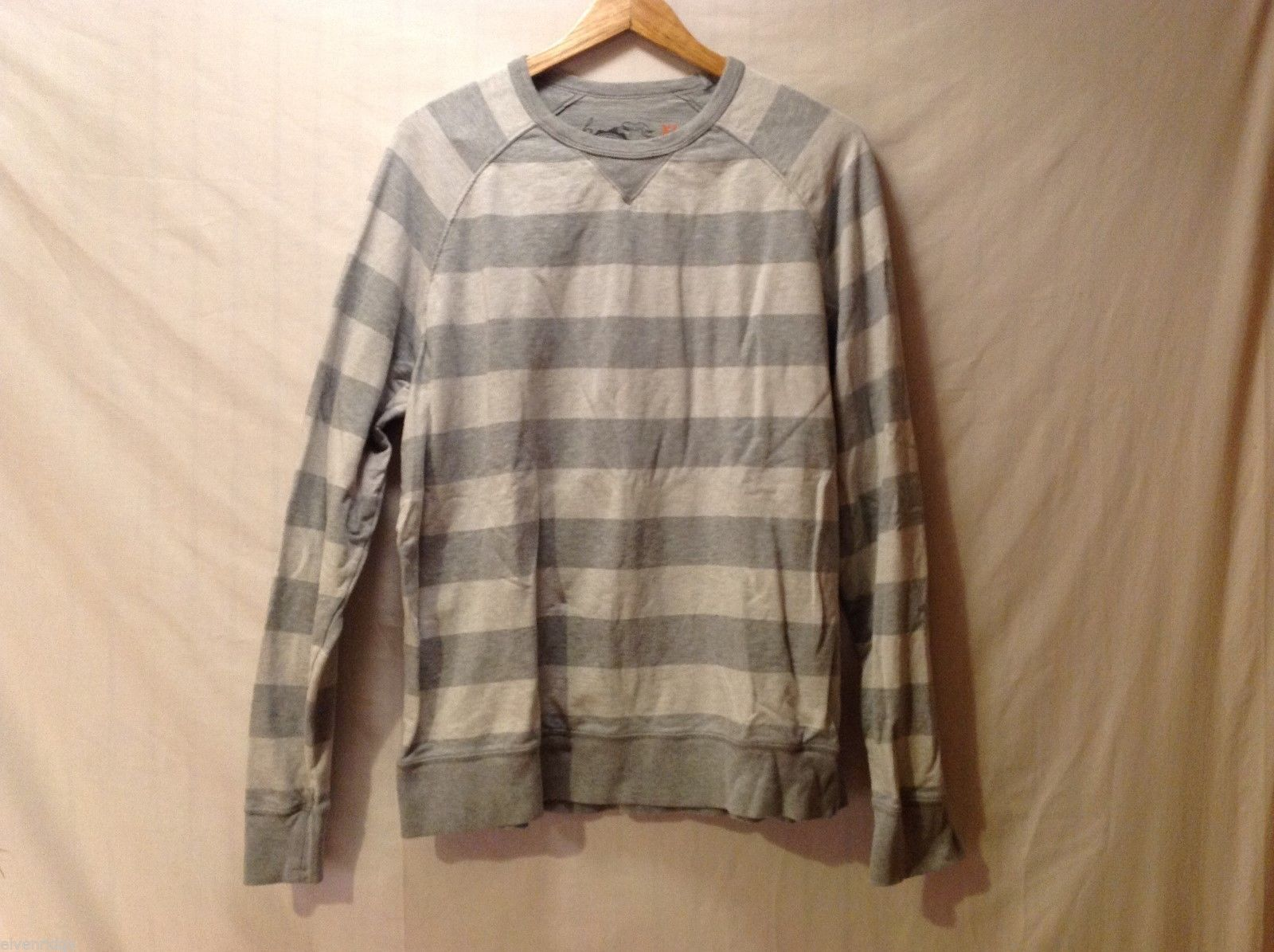 Unisex Long Sleeve Dark and Light Gray Striped Shirt, Size XL
