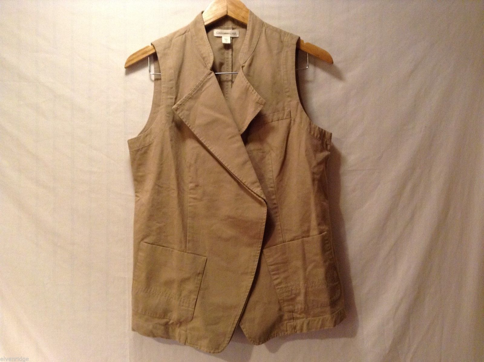 Womens Coldwater Creek Khaki Denim Vest, Size Small (6-8)