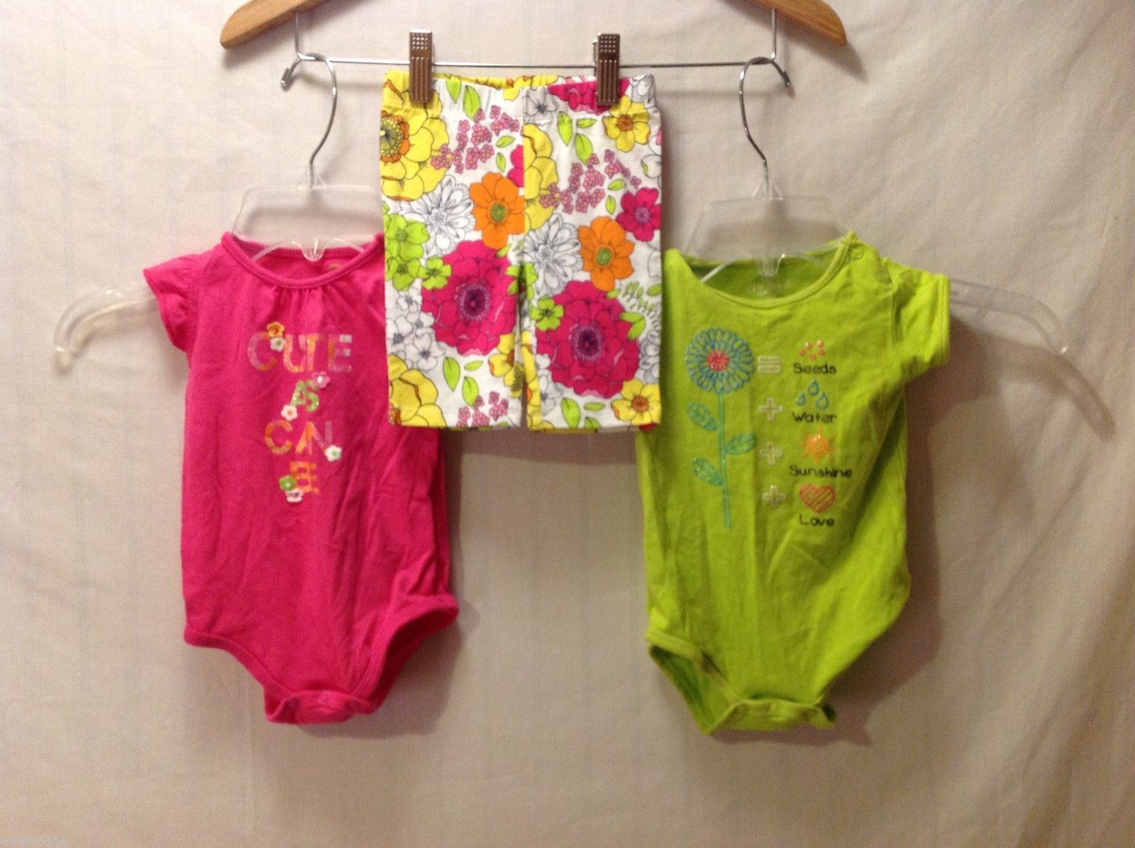 Okie Dokie Lot of 2 baby girl one piece and shorts outfits, Size 6 months