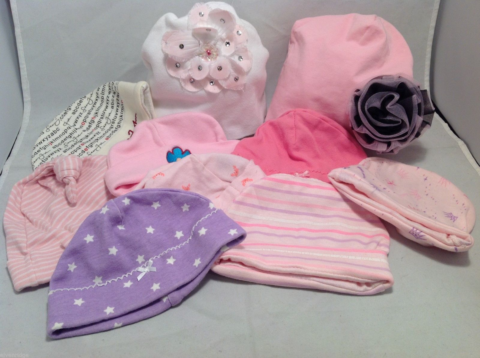 Lot of 10 baby girl infant hats, pink lavender and white