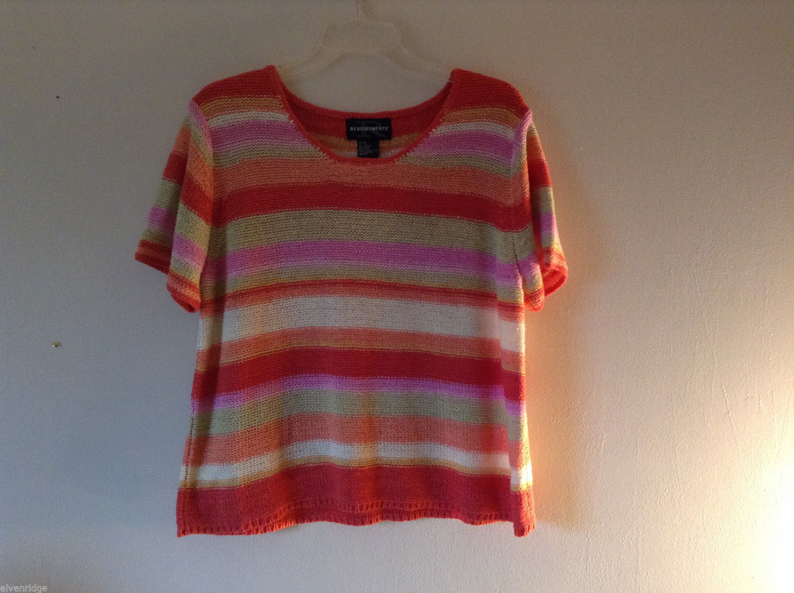 Requirements Women's Size XL Sweater Colorful Striped Coral Orange Green Pink