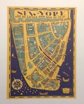 Vintage Reprint Color New York City  poster New Amsterdam 1664 Not So Little