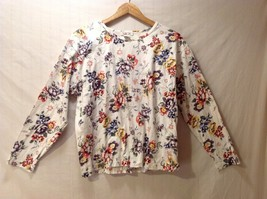Womens Talbots Long Sleeve Off-White Floral Shirt, Size Large
