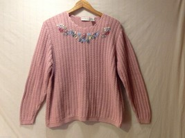 Womens Season Ticket Rose Colored Knit Sweater, Size L