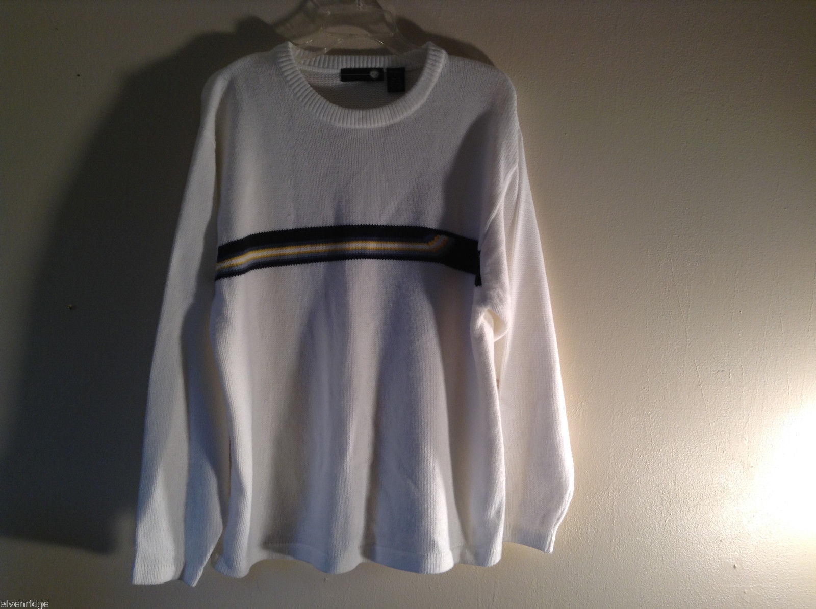 XG Men's Size L White 100% Acrylic Sweater with Asymmetrical Stripe Band Detail