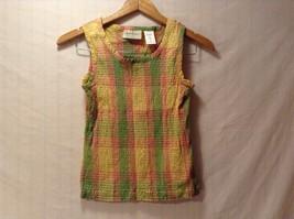 Womens Lemon Grass Plaid Sleeveless Top, Size Small