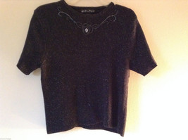 Work in Progress Women's Size M (10-12) Short Sleeve Black Sweater Sparkly Beads