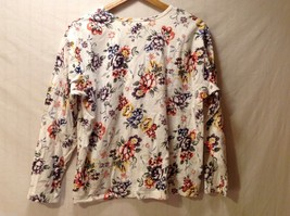 Womens Talbots Long Sleeve Off-White Floral Shirt, Size Large image 6