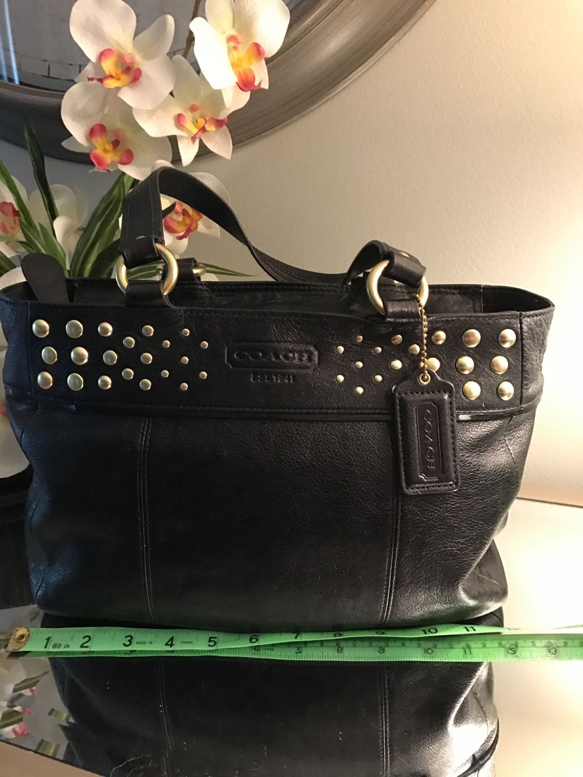 Primary image for COACH Black Leather TOTE with Studs plus dust bag - FREE SHIPPING