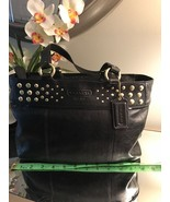 COACH Black Leather TOTE with Studs plus dust bag - FREE SHIPPING - $95.00