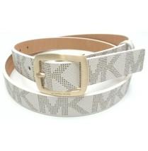 Michael Kors Belt Vanilla MK Logo Gold Buckle (Skinny) Large Free Shipping - $36.99