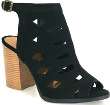 QUPID – Women's Strappy Cut-Out Peep-Toe Block Heel Bootie Sandals – Size: 10 - $35.59