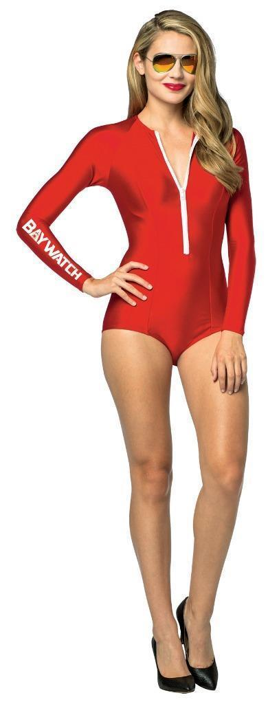 Baywatch Womens Adult Costume Red Swimsuit Lifeguard Sexy Halloween GC3908