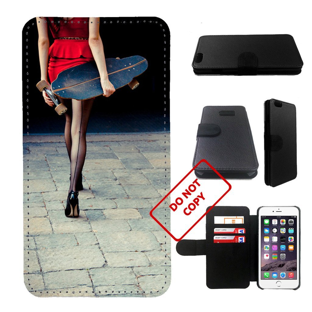 Skateboard Girl Iphone 6s PLUS wallet leather case, iphone 6s plus wallet case,