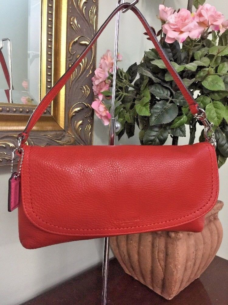 Coach Park Pebbled Leather Large Wristlet Clutch Vermillion F51821 B25