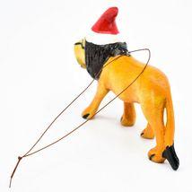 Hand Carved Painted Jacaranda Wood Santa Hat Lion Safari Christmas Ornament image 3