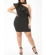 Forever 21 Flounce Ruffle One Shoulder Choker Top Mini Dress Black Plus ... - $14.65
