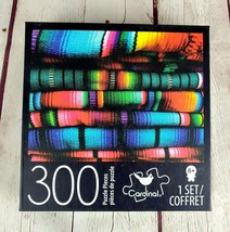 """Puzzle 300 Piece Colorful Mayan Textiles From Cardinal 18"""" x 24"""" Pre-own... - $14.50"""