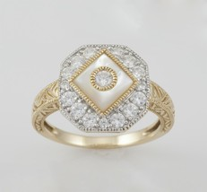 14k Yellow Gold Ladies Mother of Pearl and Cubic Zirconia Ring. Size 8.25 - $295.00
