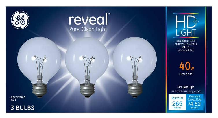 3 Pack GE Reveal HD+ Light 40-Watt G25 Clear Globe light Bulbs w Medium Base