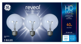 3 Pack GE Reveal HD+ Light 40-Watt G25 Clear Globe light Bulbs w Medium Base image 1