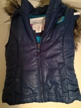 New Aeropostale Blue Women's Vest Sleeveless With An Faux Fur Hoodie Siz... - $16.82