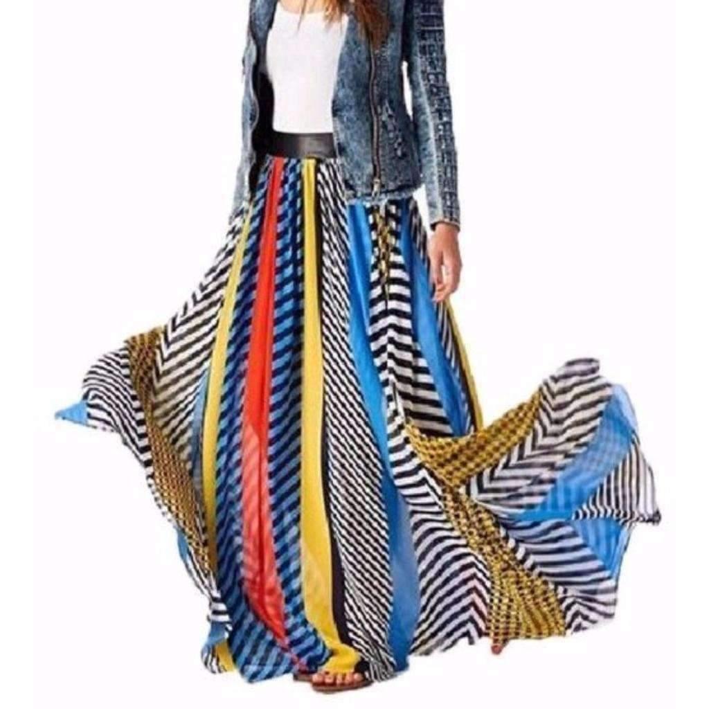 Aisy dress for less maxi skirts bohemian chiffon multicolor print women maxi skirt 1416578433055