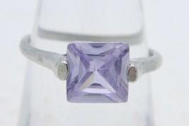 VTG Silver Tone Purple Faceted Cut Glass Rhinestone Princess Cut Ring Size 6.5 - $19.80