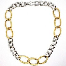 Silver 925 Necklace, Chain Grumetta Oval, White & Yellow Alternating, Curb image 2