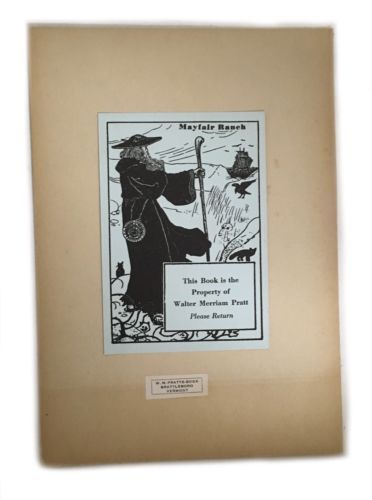 Ex Libris Book Plate Exlibris Mayfair Ranch Brattleboro Vermont Walter Pratt