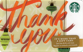 Starbucks 2016 Holiday Thank You Collectible Gift Card New No Value - $1.99