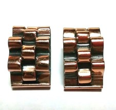 VINTAGE RENOIR SIGNED MODERNIST COPPER CLIP ON EARRINGS - $40.00