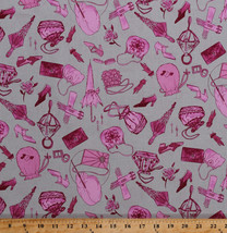 Pink Fashion Accessories Purses Shoes Jewelry Cotton Fabric Print BTY D3... - $10.95