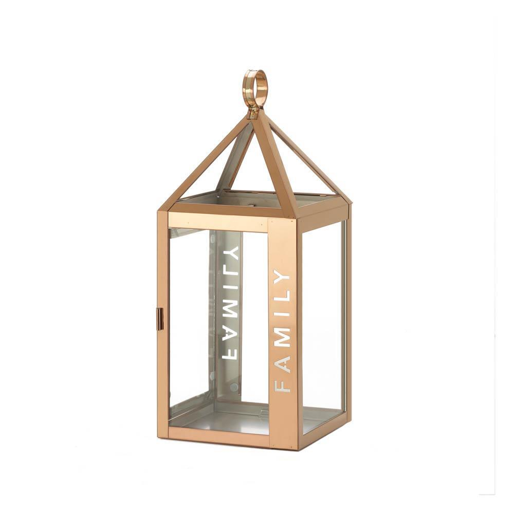 Rose Gold Stainless Steel Sleek Candle Lantern w/ Family Etched on Side image 2