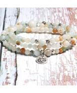 MOON GIRL 108 Mala Beads Mantra Wrap Bracelet Yoga 4MM Amazonite Stone S... - $17.01