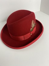 Godfather - pimp hat - red with feathers-designer - large  - $25.00