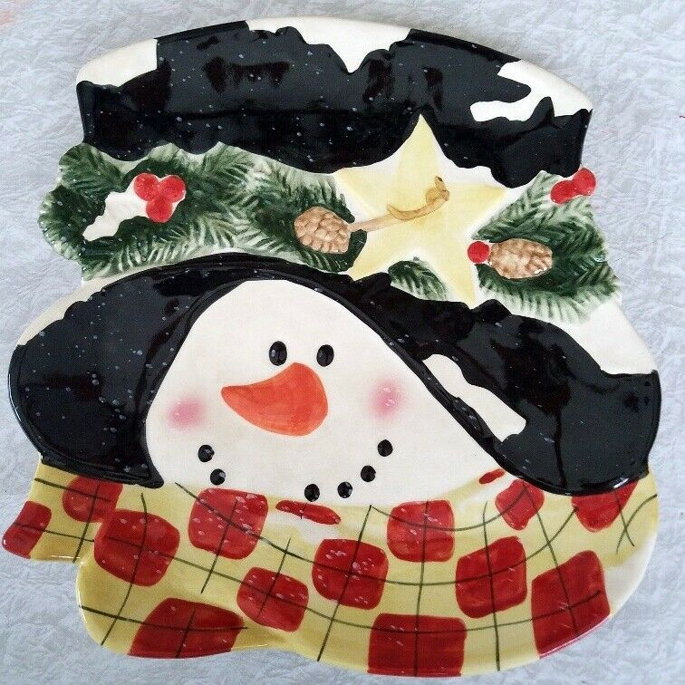Primary image for Snowman Face Christmas Serving Platter Plate Hat Scarf Ceramic 11 in x 11 in