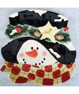 Snowman Face Christmas Serving Platter Plate Hat Scarf Ceramic 11 in x 1... - $25.74