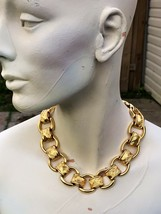 Quilted Chain Link Heavy Necklace Women's Gold Bold Chunky Collar 1980s ... - $33.23