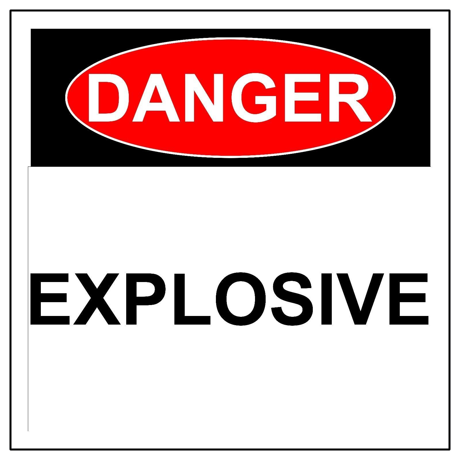 Danger Explosive Sign, Aluminum Metal Health & Safety Warning UV Print Signs